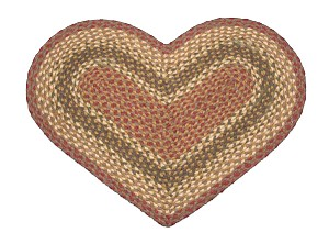 Heart Shaped Olive Burgundy and Gray Jute Braided Earth Rug®