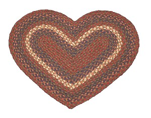 Heart Shaped Burgundy and Gray Jute Braided Earth Rug®