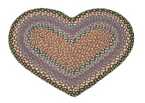 Heart Shaped Burgundy Blue and Gray Jute Braided Earth Rug®