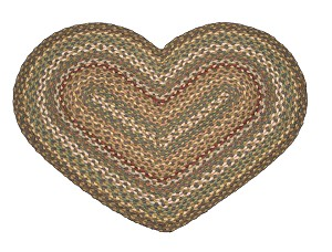 Heart Shaped Fir and Ivory Jute Braided Earth Rug®