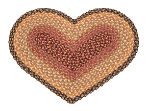 Heart Shaped Burgundy Gray and Creme Jute Braided Earth Rug®