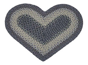 Heart Shaped Light Blue Dark Blue and Black Jute Braided Earth Rug®