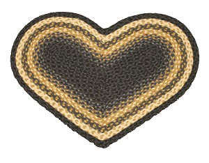 Heart Shaped Light Blue Dark Blue and Mustard Jute Braided Earth Rug®