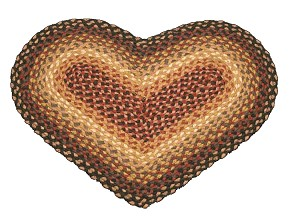 Heart Shaped Burgundy Charcoal and Dusty Rose Jute Braided Earth Rug®