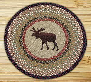 Round 27 Inch Print Patch Moose Braided Earth Rug®