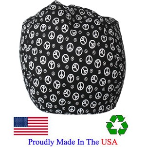 Peace Black Bean Bag Chair