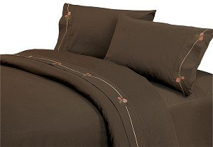 Luxurious Rustic Bedding Western Coffee Pine Cone Sheet Set