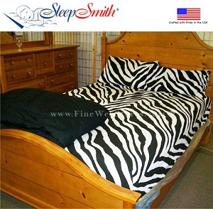 Zebra Print European Split Queen Size Sheet Set