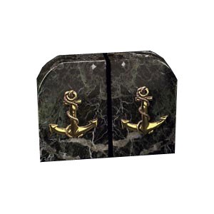 Solid Marble Anchor Bookends - Set of Two