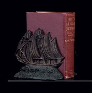 Bronzed Sailboat Bookends - Set of Two
