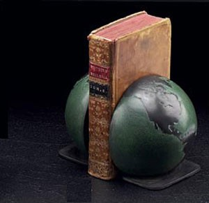 Bronzed Patina Finished Brass Globe Bookends - Set of Two