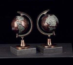 Bronzed Globe Bookends - Set of Two