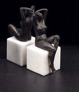 Bronzed Woman Bookends - Set of Two