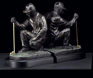 Bronzed Brass Golf Bookends - Set of Two