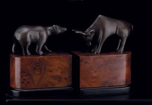 Bronzed Brass Bull and Bear Bookends - Set of Two