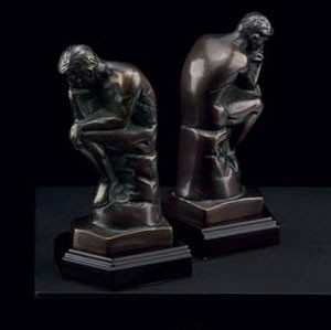 Bronzed Metal Thinker Bookends - Set of Two