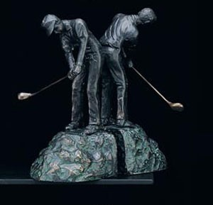 Man Golfing Brass Bookends - Set of Two