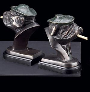 Bronzed Brass Smoking Dog Bookends - Set of Two