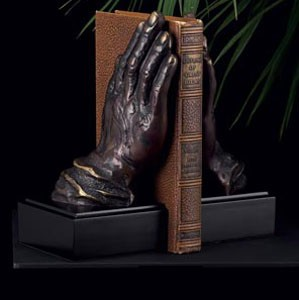 Bronzed Metal Hands Bookends - Set of Two