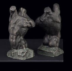 Bronzed Torso Bookends - Set of Two