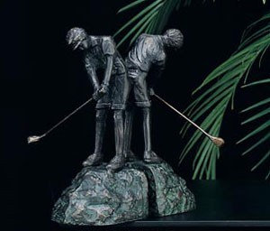 Woman Golfing Brass Bookends - Set of Two