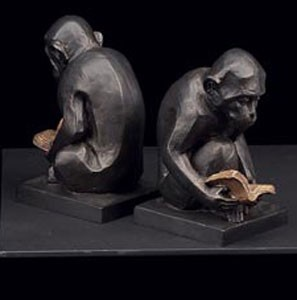 Bronze Reading Monkey Bookends - Set of Two