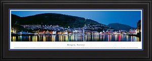 Bergen, Norway Deluxe Framed Skyline Picture