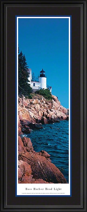 Bass Harbor Head Lighthouse Deluxe Framed Skyline Picture