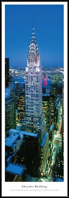New York, New York Chrysler Building (Twilight) Framed Skyline Picture