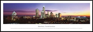 Charlotte, North Carolina Framed Skyline Picture 2