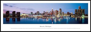 Detroit, Michigan Framed Skyline Picture 5