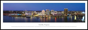Norfolk, Virginia Framed Skyline Picture
