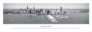 Chicago, Illinois Black and White Panoramic Picture 1
