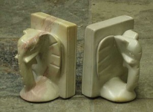 Elephant Book End Set Hand Carved Soap Stone from Africa