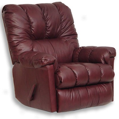 Score Black Cherry Leather Chaise Rocker Recliner