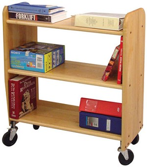 Library Book Truck Natural Birch with Flat Shelves