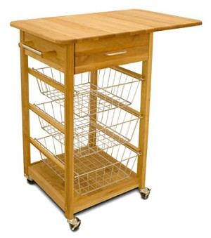 Single Drop Leaf Butcher Block Kitchen Island Cart