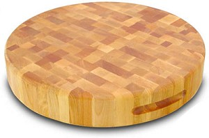 17 Inch Round Slab Reversible Butcher Block Cutting Board