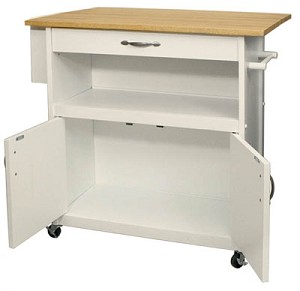 White Drop Leaf Utility Kitchen Cart
