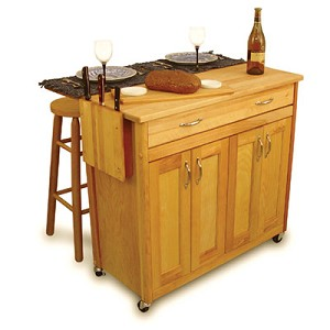 Mid-Sized Super Butcher Block Kitchen Island Cart