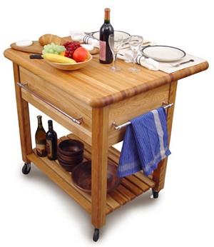 Drop-Leaf Kitchen Island With Butcher Block Top : Grand Butcher Block Kitchen Island Cart with Drop Leaf
