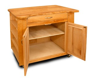 Deep Storage Butcher Block Kitchen Island with Contoured Top