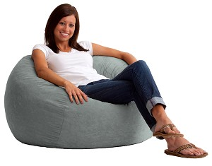 3 1/2 Foot Medium Fuf Bean Bag Chair Comfort Suede Steel Grey