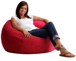 3 1/2 Foot Medium Fuf Bean Bag Chair Comfort Suede Sierra Red