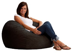 3 Foot Small Fuf Bean Bag Chair Comfort Suede Black Onyx