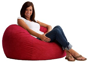 3 Foot Small Fuf Bean Bag Chair Comfort Suede Sierra Red