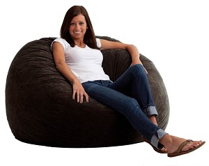 4 Foot Large Fuf Bean Bag Chair Comfort Suede Black Onyx