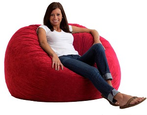 4 Foot Large Fuf Bean Bag Chair Comfort Suede Sierra Red