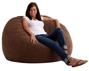 4 Foot Large Fuf Bean Bag Chair Comfort Suede Espresso
