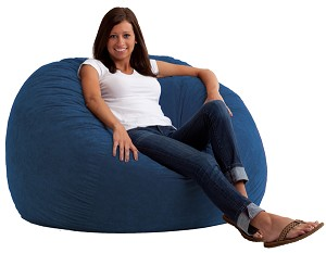 4 Foot Large Fuf Bean Bag Chair Comfort Suede Blue Sky